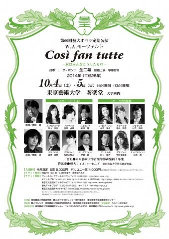 第60回藝大オペラ定期公演 W.A.モーツァルト コシ・ファン・トゥッテ ~女はみんなこうしたもの~